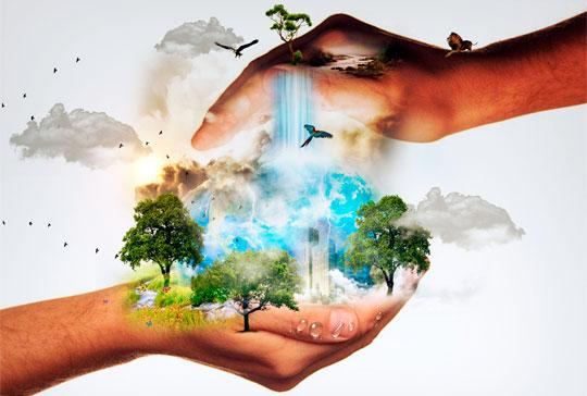 planeta con manos