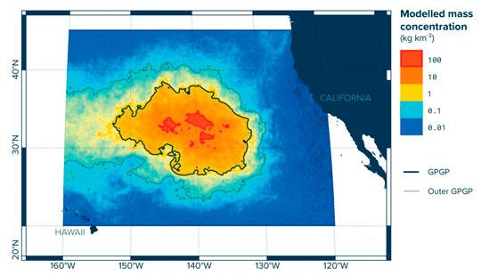 isla de plástico en el océano pacífico